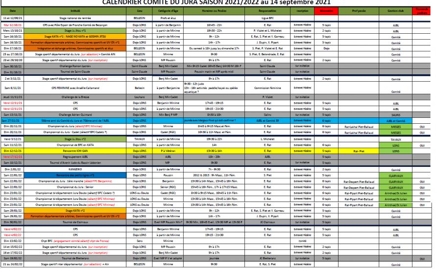 Calendrier du Comité du Jura saison 2021-2022